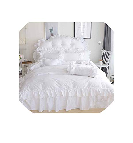 (Snow White Princess Bedding Set King Queen Size Luxury 4Pcs Ruffles Quilt Cover Set Bedspread Bed Skirt Pillowcases 100% Cotton,White,Twin Size 3Pcs)
