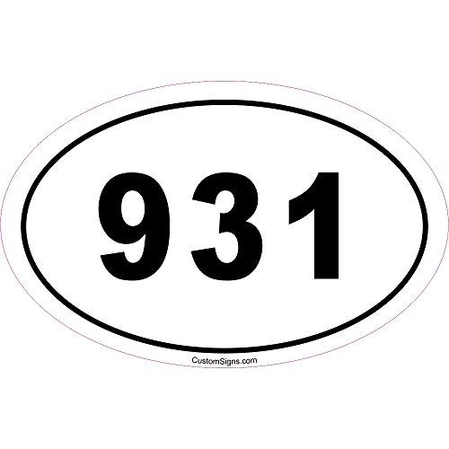 Custom Signs 931 Area Code Bumper Sticker for Car