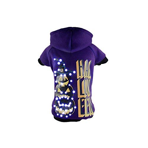 [Pet Life LED Lighting Halloween Happy Snowman Hooded Sweater Pet Costume, Large, Purple] (Snowman Halloween Costumes)