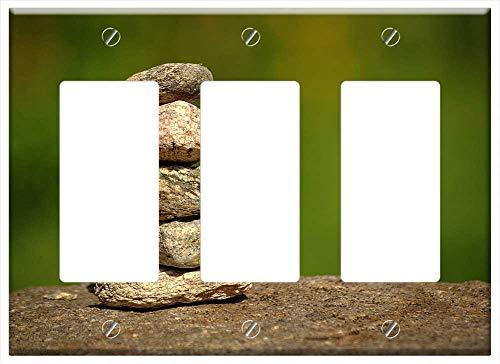Switch Plate Triple Rocker/GFCI - Stone Troll Stone Nature Stone Sculpture Pebbles