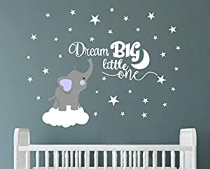 Dream Big Little One Elephant Wall Decal, Quote Wall Stickers, Baby Room Wall Decor, Vinyl Wall Decals for Children Baby Kids Boy Girl Bedroom Nursery Decoration(Y03)