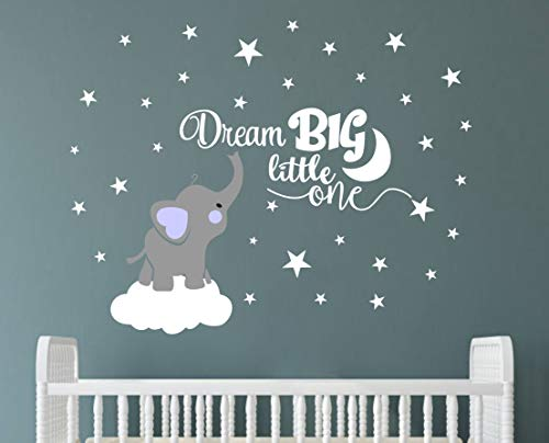 Dream Big Little One Elephant Wall Decal, Quote Wall Stickers, Baby Room Wall Decor, Vinyl Wall Decals for Children Baby Kids Boy Girl Bedroom Nursery Decoration(Y03) (Blue(Boy))