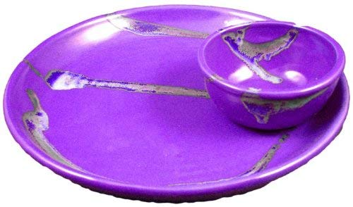 PRADO STONEWARE COLLECTION - Nacho/Salsa Tray One Piece Chip & Dip Plate With Attached Bowl - Purple - One Piece Chip