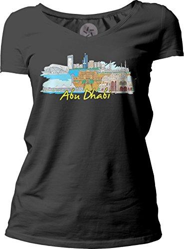Big Texas Abu Dhabi Women's Short-Sleeve V-Neck T-Shirt, Black, L