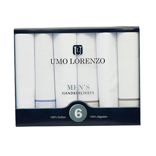 Umo Lorenzo Men's Basic Stripe Dress Handkerchief Set (Pack of 6), White by Umo Lorenzo (Image #2)