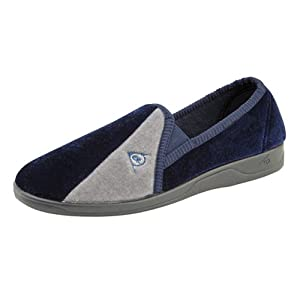 Mens famous DUNLOP elasticated gusset slippers Navy/Grey size 7