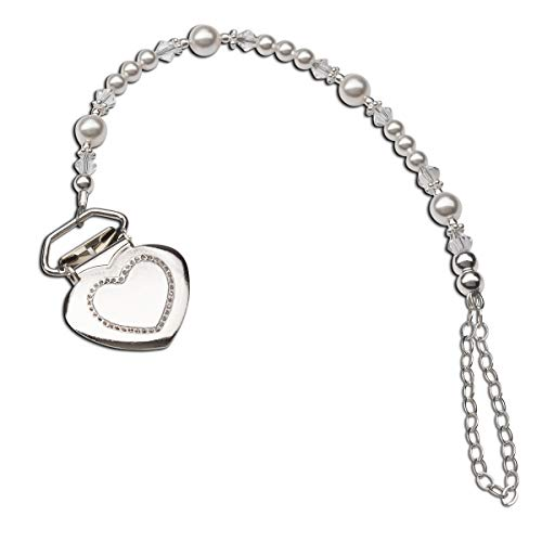 (Sterling Silver Heart Binky or Pacifier Clip with Swarovski Simulated Pearls and Crystals (Clip is base metal))