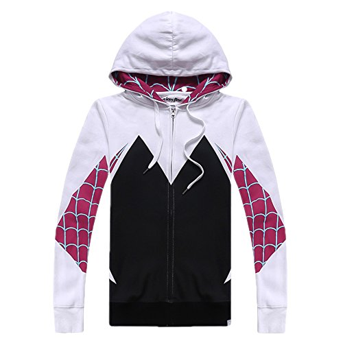 Alwoe Unisex Adult 3D Clothing Gwen Spider Cosplay Zipper Hooded Sweatshirt Black X-Large