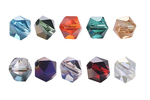 [wanjin 6mm 200pcs Triangular facets Crystal Glass Beads Crystal Beads For Jewelry Making Findings with Container Box Wholesale Mix Lots] (Glass Bead Mix Jewelry)