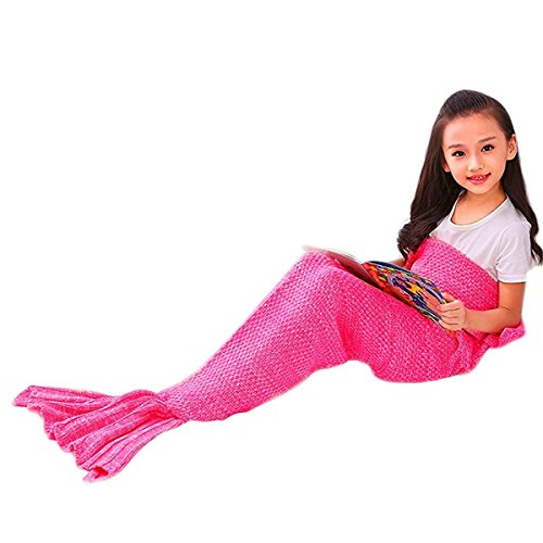 Mermaker ®Beautiful Knitting Mermaid Blanket All Seasons Sleeping Bag for Adult and Kids 56″x28″Rose Red