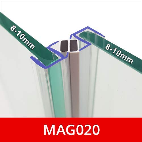 Sold in Pairs 2 Metres Long Magnetic Shower Seals Fits 8-10mm Glass 90/° Magnet for Pivot Opening Doors MAG020