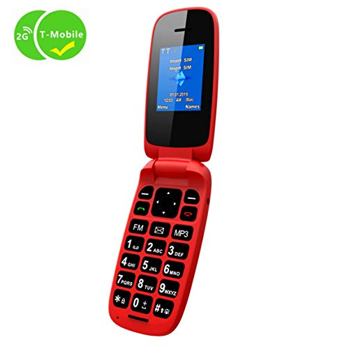 (Ushining Unlocked GSM 2G Flip Phone Dual SIM Dual Standby Only for Carrier T-Mobile - Red)