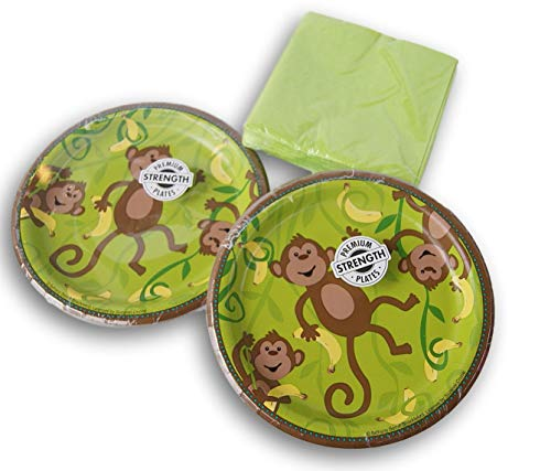 (Green Monkey Party Supply Kit - (16) Cake Plates and (30) Beverage Napkins)