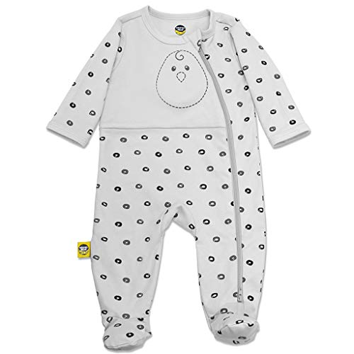 Nested Bean Zen Footie Pajama Classic - Gently Weighted, Long Sleeved, 100% Cotton (3-6 Months, O Me O My - Grey)