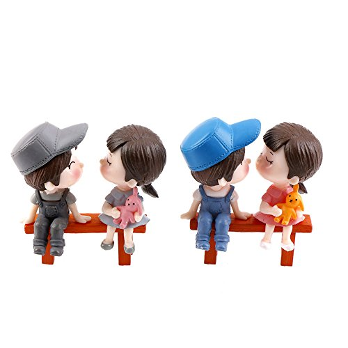 TATEELY 6 Pcs Couple Lover and Chair Boy and Girl DIY Resin Fairy Garden Craft Terrarium Gift Miniatures Decorative Micro ()