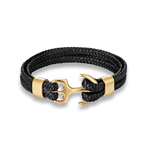 Cyan mango Stainless Steel Bracelet Gold Silver Metal Anchor Grey Woven Leather Charm Bracelets for Men and Women Jewelry