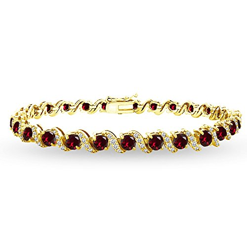 GemStar USA Yellow Gold Flashed Sterling Silver Created Ruby 4mm Round-Cut S Design Tennis Bracelet with White Topaz Accents