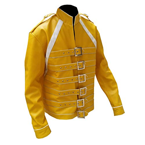 Mens Freddie Mercury Queen Concert Yellow Belted Motorcycle ...