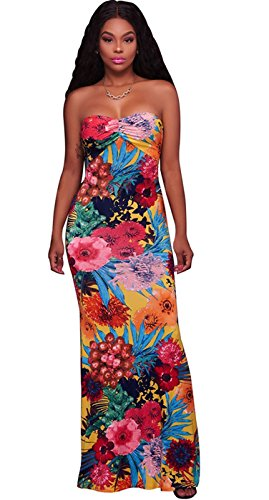 l Print Cut Out Crisscross Strappy Back Long Maxi Bodycon Column Tube Beach Dress Yellow L (Cut Out Tube Dress)