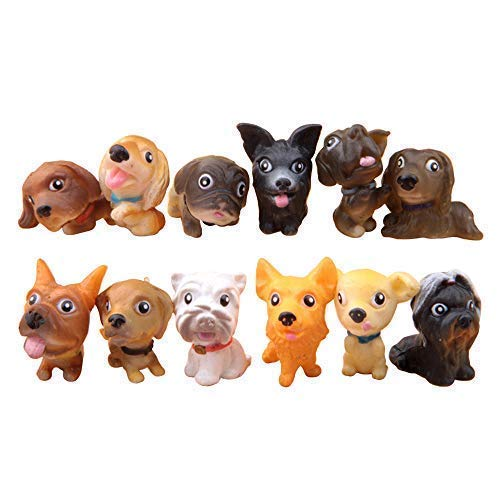 Miniature Dog Figure - BOHS 12pcs - Dog Puppy Cake Decorations Toppers - Miniature Garden Ornaments Figures - Animal Models Collections Toys