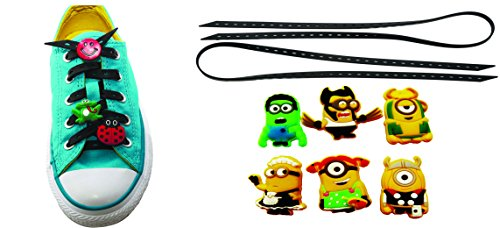 AVIRGO Universal Lazy No Tie Silicone Shoelace Rubber Elastic Slip Sneaker Shoe Laces Running Shoelaces Athletic Elastic Shoelaces with 6 pcs Buckles Adjustable Size Black Set # 34 - (Despicable Me Margo Costumes)