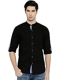 PIVOTO Men Black Slim Fit Solid Casual Shirt