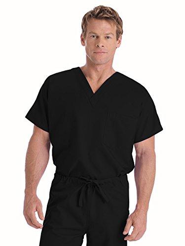 Landau Size Premium Uniform Reversible One Pocket V-Neck Scrub Top, Black, Small Tall