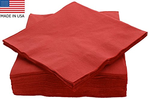 "Amcrate Big Party Pack 50 Count Red Dinner Napkins Tableware- Ideal for Wedding, Party, Birthday, Dinner, Lunch, Cocktails. (7"" x 7"")"
