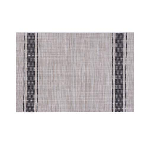 Millie Home Placemats for Dining Table Vinyl Heat Resistant Wipeable Placemat Non-Slip Washable PVC Kitchen Place Mats Set of 6,Gray Stripe by Millie Home (Image #2)