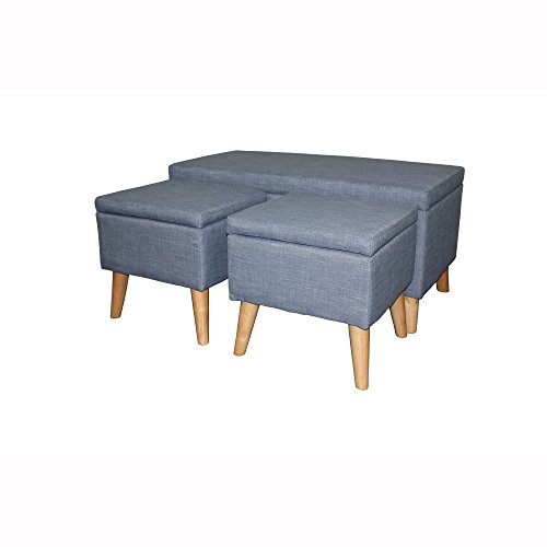 "ORE International HB4656 18"" Aquamarine Blue Storage Bench Plus 2 Storage Ottoman Seating"