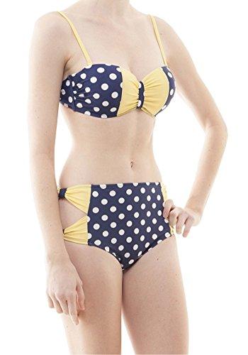 Sidecca Vintage Retro Polka Dot Bow High Waist Bikini-Navy/Yellow-Small