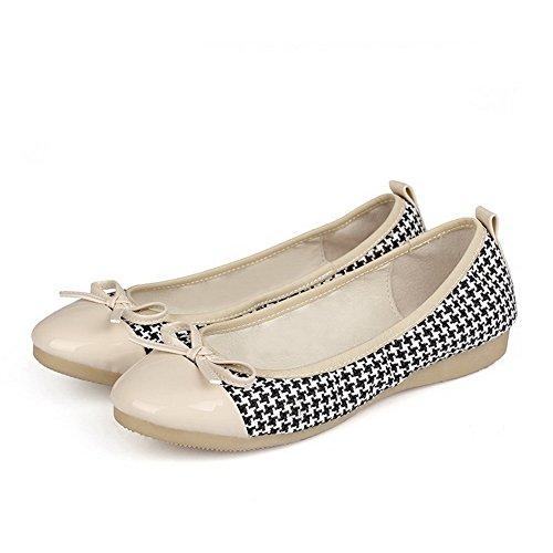 AgooLar Damen Blend-Materialien Gemischte Farbe Rund Zehe Niedriger Absatz Pumps Schuhe Schwarz