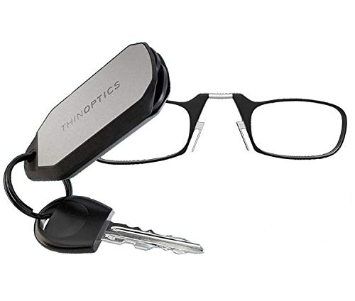 ThinOptics Reading Glasses + Keychain Case | Black Frame, 1.50 Strength Readers