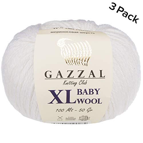 3 Pack (Ball) Gazzal Baby Wool XL Total 5.28 Oz / 328 Yrds, Each Ball 1.76 Oz (50g) / 109 Yrds (100m) Super Soft, Medium-Worsted Yarn, 40% Lana Merino 20% Cashmere Type Polyamide, White-801 ()
