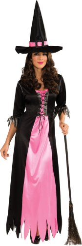 Rubie's Costume Classic Witch Blue and Black Dress and Hat, Black/Pink, Standard (Sexy Witch Dress)