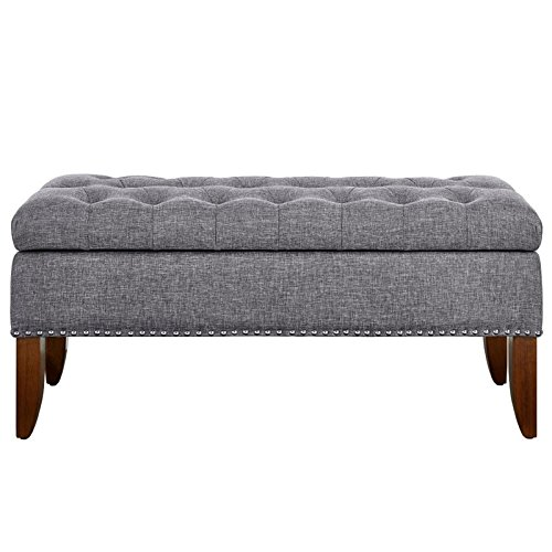 Pulaski DS-D107003-620 Hinged Top Button Tufted Bed Heathered Grey, 41.50