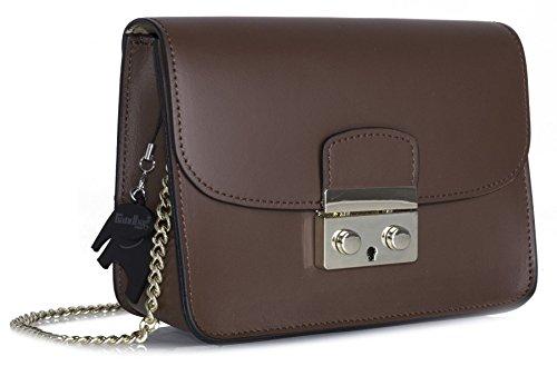 Italiana Shop Big Mano Piel Hombro Marrón Bolso De Handbag Auténtica Y 0OnwqqEYU