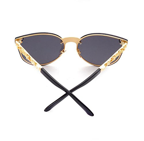 marco de de estéreo no Estilo Ojos gótico polarizado PC gato de Dorado metal reflexivo gafas retro sol SPqPOfX