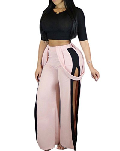 SCORP Women Sexy Short Sleeve Crop Tops High Waist Pants 2 Piece Bodycon Set Clubwear Outfits, Pink/Black, Medium