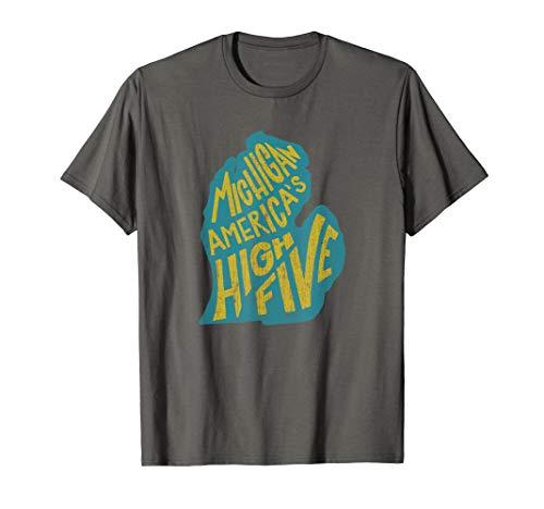 Michigan America's High Five Tshirt - Vintage Distressed