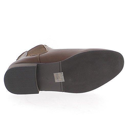 Kamel niedrige Stiefel mit Absatz 2,5 cm glänzender Lederoptik