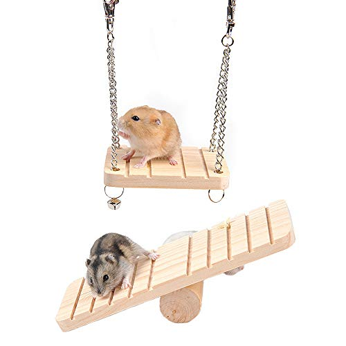 kathson Hamster Seesaw Wooden Hanging Swing Set Ferret Climbing Ladder Cage Toys Suspension for Small Hamsters Squirrels Gerbils Mice Dwarfs Rats