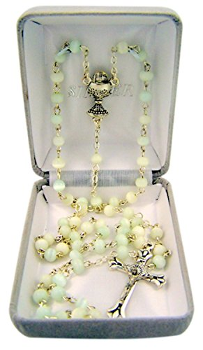 First Communion White Petite Glass Prayer Bead Rosary Necklace with Chalice Centerpiece, 18 Inch ()