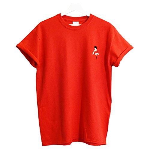 hecho o camiseta Bruce roja grande bordada Lee peque xx Real adwq1Fa