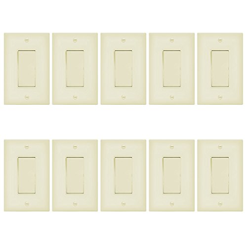 Enerlites Decorator On/Off Paddle Wall Switch with Covers, 91150-IWP | 15 Amp, 120-277VAC, Single Pole, 3 Wire, Grounding, Residential and Commercial Graded Light Switches, UL Listed | Ivory - 10 Pack by Enerlites