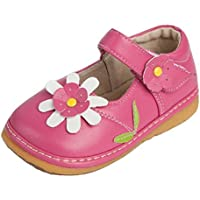 Little Mae's Boutique Toddler Shoes | Squeaky Pink, White or Brown Flower Mary Jane Toddler Girl Shoes