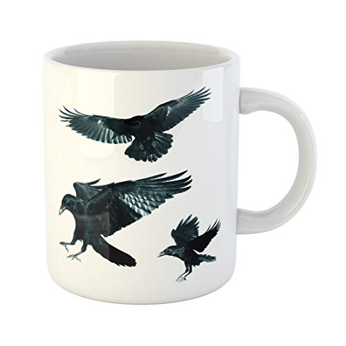 Semtomn Funny Coffee Mug Game Birds Mix Flying Common Ravens Corvus Corax Halloween 11 Oz Ceramic Coffee Mugs Tea Cup Best Gift Or Souvenir -