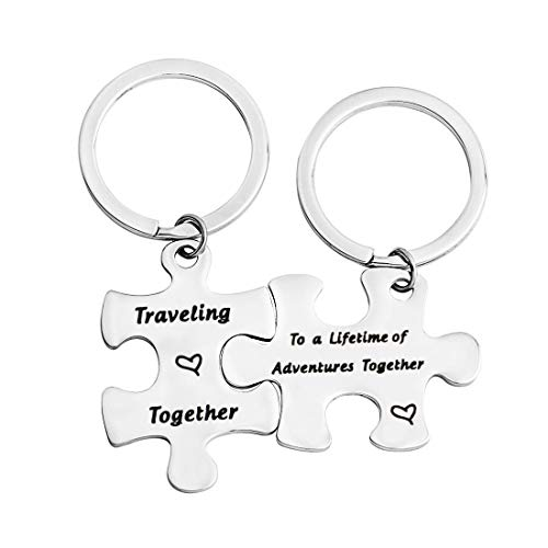 QIIER Couples Puzzle Keychain Lifetime of Adventures Together Traveling Together Set of Two Adventure Jewelry Travel Gift Birthday Gift (Lifetime of Adventures)