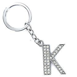 Novelty Key Ring Trinket, Palarn Keyring A-Z Initials Letter Shiny Silver Key Chain (K)