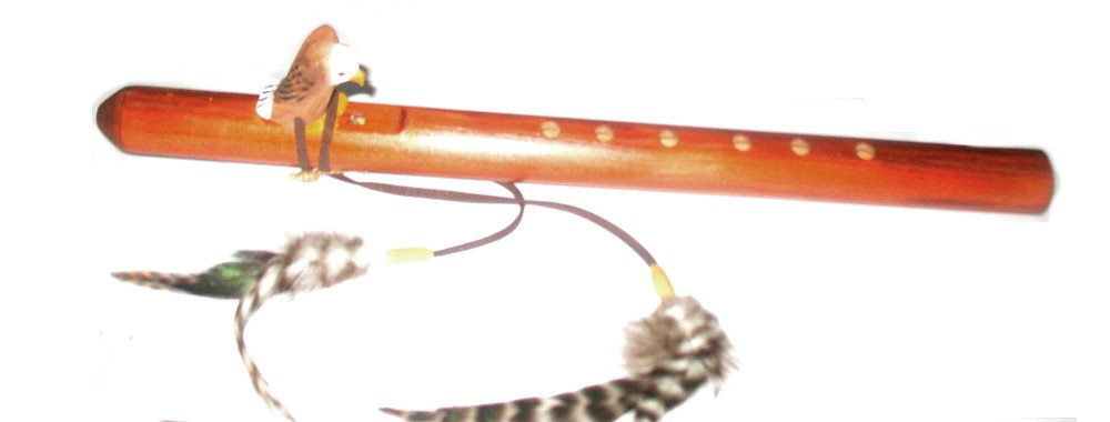 Hand Crafted Eagle Flute Native American Style with Feathers Carved Eagle Long 18''